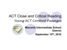 ACT Close and Critical Reading Power Point