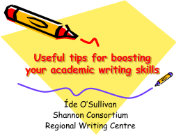 Downtown Centre: Boosting your Academic Writing Skills