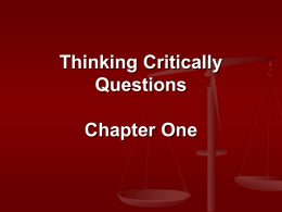 Thinking Critically Questions Chapter One