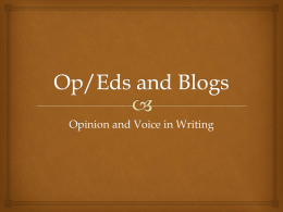 Op/Eds and Blogs