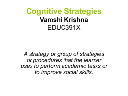 Cognitive Strategies - Stanford University