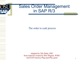 Sales Order Cycle in SAP - Oklahoma State University