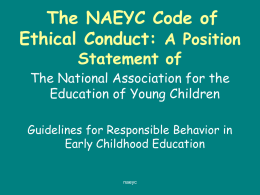 NAEYC AND EARLY CHILDHOOD ASSESSMENT