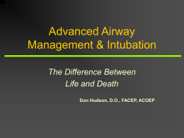 INTUBATION & AIRWAY MANAGEMENT
