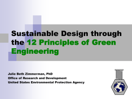 Design through the 12 Principles of Green Engineering