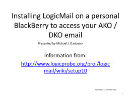 Installing LogicMail on a BlackBerry