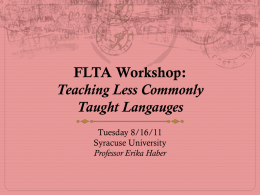 FLTA Workshop Less Commonly Taught Languages: