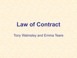 Law of Contract - Teesside University