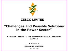ZAMBIA POWER MARKET - Economics Association of Zambia