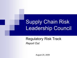 Supply Chain Risk Leadership Council