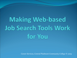 Making Web-based Job Search Tools Work for You