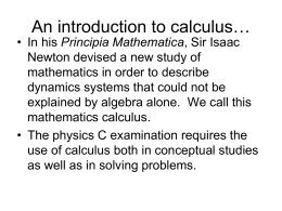 An introduction to calculus…