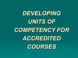DEVELOPING UNITS OF COMPETENCY