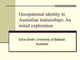 Occupational identity in Australian traineeships: An