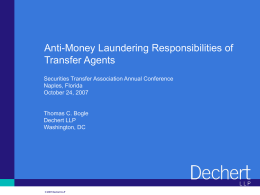 Anti-Money Laundering Responsibilities of Transfer Agents