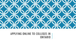 Applying Online to Colleges in Ontario