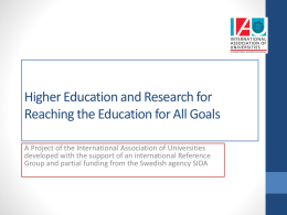 Higher Education and Research for Reaching the Education
