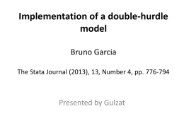 Implementation of a double-hurdle model Bruno Garcia The