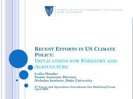 Recent Efforts in US Climate Policy