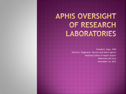 APHIS Oversight of Research Laboratories