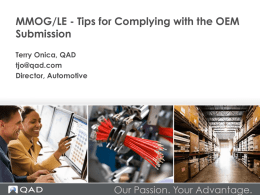 MMOG/LE – Tips for Complying with the OEM Submission
