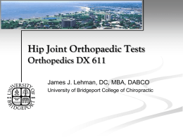 Hip Joint Orthopaedic Tests