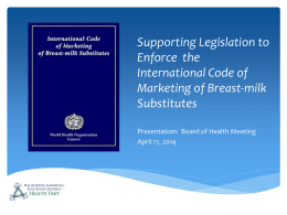 International Code of Marketing of Breast Milk Substitutes