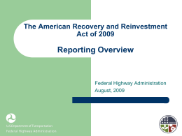 Reporting Requirements - The American Recovery and