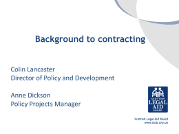 Background to contracting - Scottish Legal Aid Board