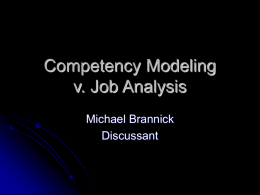 Competency Modeling v. Job Analysis