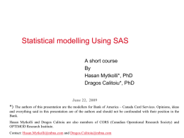 Statistical Modeling Using SAS
