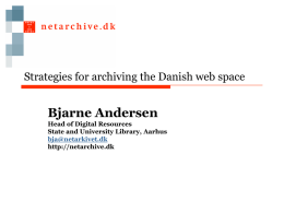 status of the netarchive.dk project
