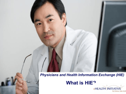 Pre-Meeting Primer: Health Information Exchange Overview