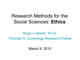 Research Methods for the Social Sciences: Ethics