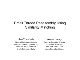 Email Thread Reassembly Using Similarity Matching