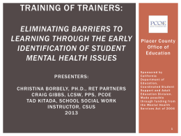 Eliminating Barriers for Learning: Social & Emotional