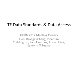 TF Data Standards & Data Access