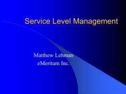 Service Level Management - Seattle Area System