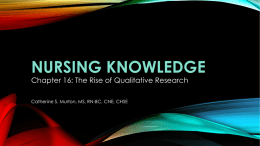 Nursing knowledge - College of Education
