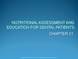 nutritional assessment and counseling for the dental
