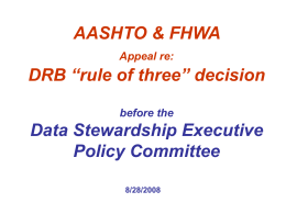 "AASHTO & FHWA Appeal re: DRB ""rule of three"" decision"