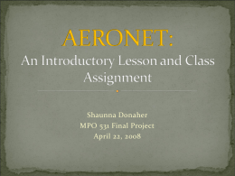 AERONET: An Introductory Lesson and Class Project