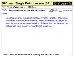 Single Point Lesson (SPL)