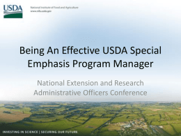 Being An Effective USDA Special Emphasis Program Manager