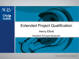 Extended Project Qualification Standardising November 2009