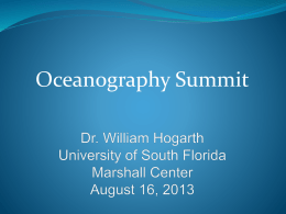 Florida Institute of Oceanography Oceanography Summit Dr