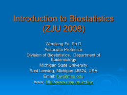 Introduction to Biostatistics (ZJU, 2008)
