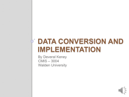 Data Conversion and Implementation