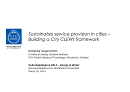 Urban CLEWS - Water resources