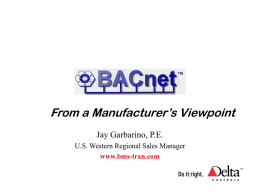 BACnet From A Manufacturer's Viewpoint